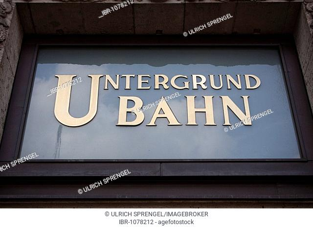 Untergrund Bahn, Underground Train, logo above the entrance at Kurfuerstendamm, Berlin, Germany