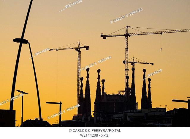 Basilica of Sagrada Familia by Antoni Gaudi architect in Barcelona, Catalonia, Spaiin