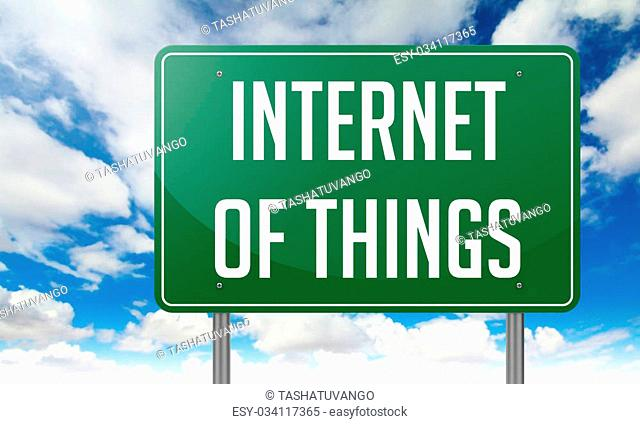 Internet of Things Highway Signpost with wording on Sky Background