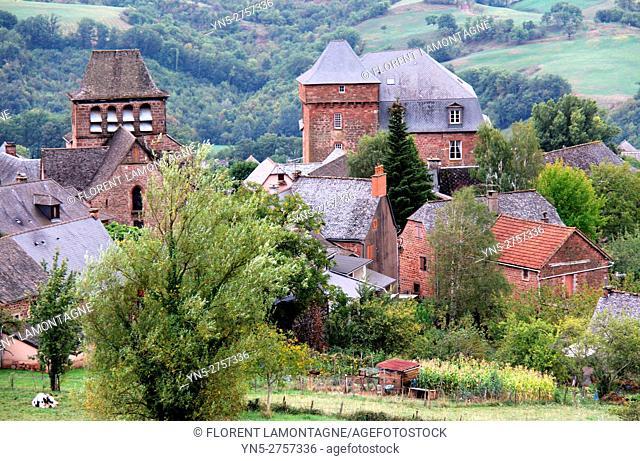 View on the village of Pruines, Puech, Aveyron, Occitanie, Midi, Pyrénées