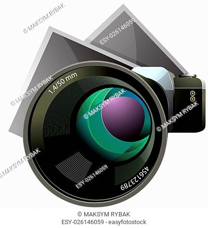 Vector camera and photos vector illustration isolated on white background