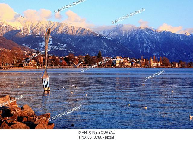 Switzerland, The huge fork of Vevey designed by the plastician from Neuchatel Jean-Pierre Zaugg, Switzerland