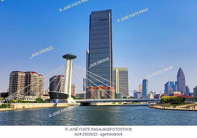 China, Tianjin City. Chingfen Bridge, Hai River