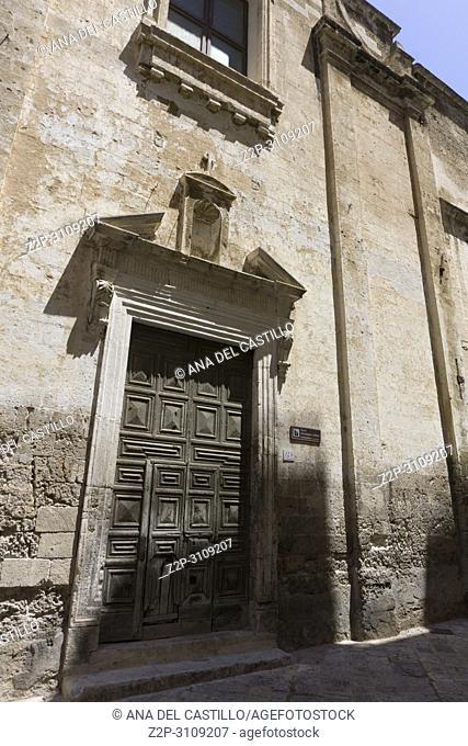 Monopoli in Puglia, Italy.,Santi Giuseppe e Anna monastery door entrance