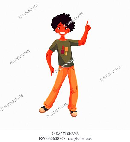 Full length portrait of african amercian teenaged boy in orange jeans dancing, cartoon style vector illustration isolated on white background