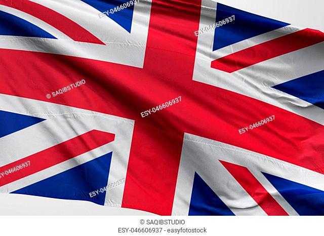 Isolated United Kingdom Flag waving 3d Realistic United Kingdom fabric