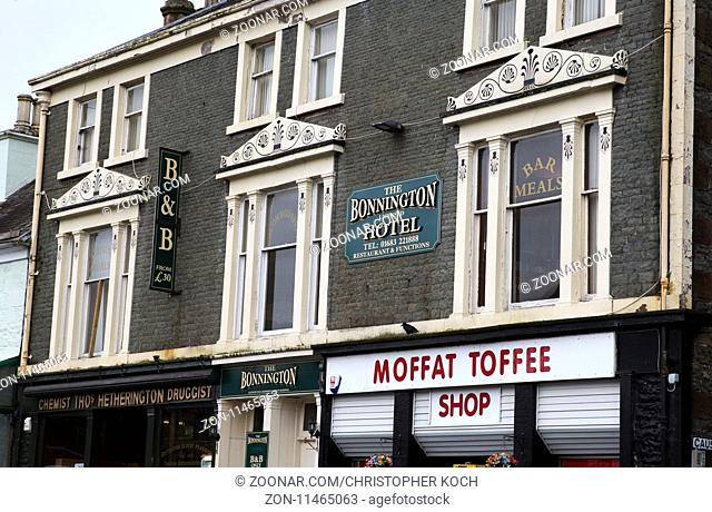 Hotel und Moffat Toffee Shop in Moffat, Schottland 2017