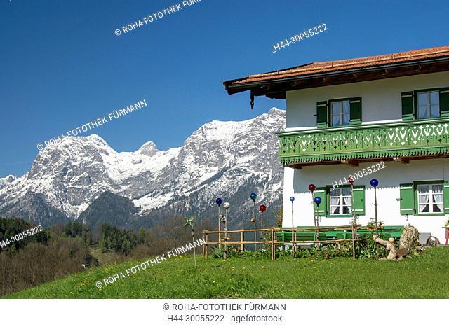 Bayern, Oberbayern, Berchtesgadener Land, Berchtesgaden, Ramsau, Lehen, Alpen, Gebirge, Berge, Gipfel, Alpen, bäuerlich, baeuerlich, Bauer, Landwirt