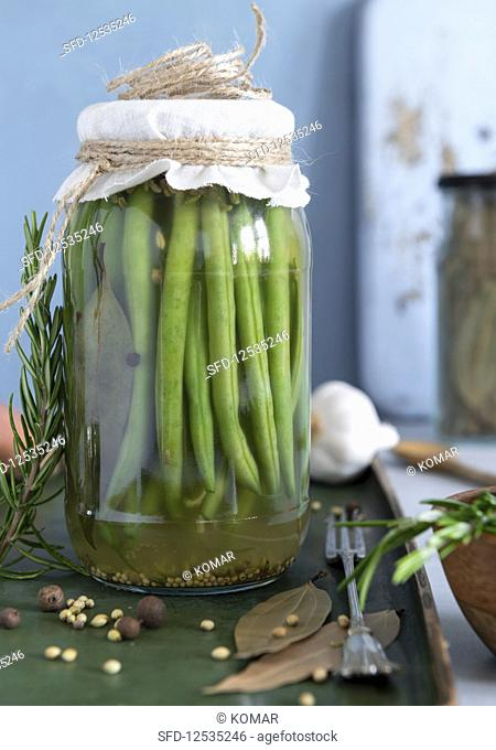 Fermented green beans in brine