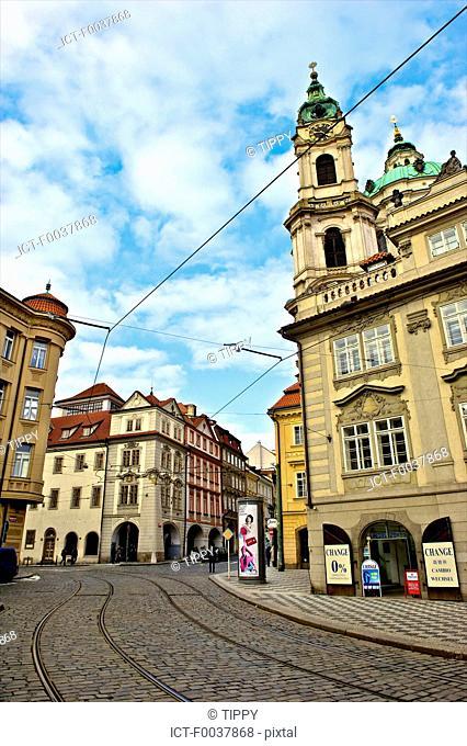 Czech Republic, Prague, Mala Strana, tracks of the tramway