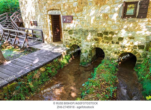 Historic mill at Roski Slap, Krka National Park, Dalmatia, Croatia