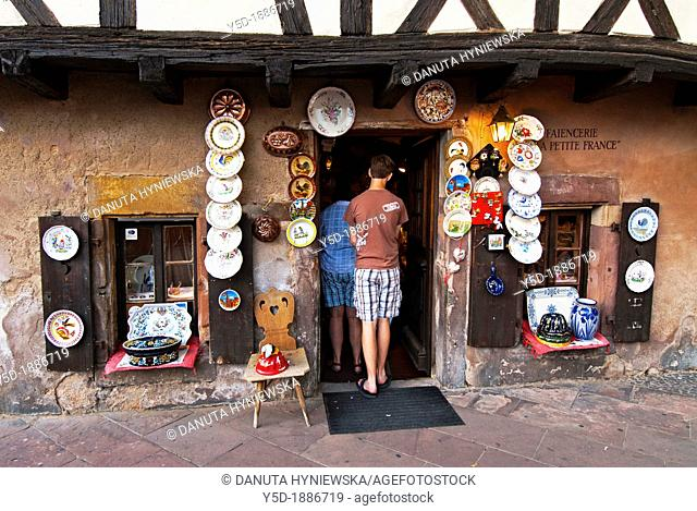 entrance to traditional French faience shop in Strasbourg, France