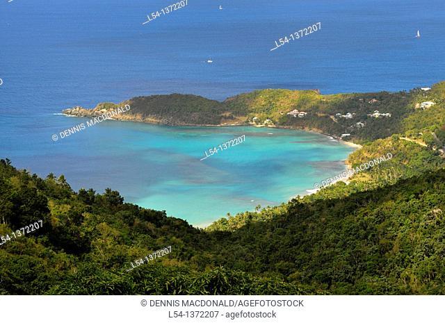 View of Caribbean Sea from Tortola BVI Island Cruise