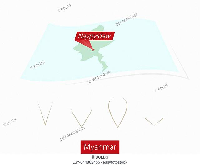 Curved paper map of Myanmar with capital Naypyidaw on Gray Background. Four different Map pin set. Vector Illustration