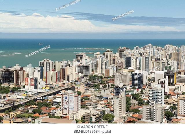 Aerial view of Vitoria cityscape and ocean, Santo, Brazil