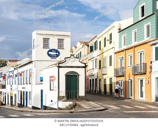 Rua Jose Azevedo and Peter Cafe Sport, a landmark of the Azores. Horta, the main town on Faial. Faial Island, an island in the Azores (Ilhas dos Acores) in the...