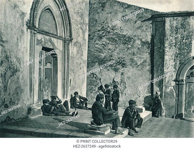 Resting outside a church, Taormina, Sicily, Italy, 1927. Artist: Eugen Poppel