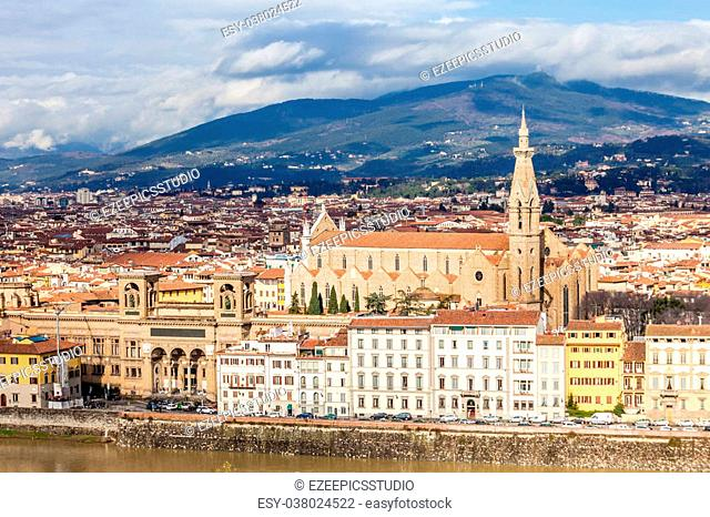 View of Basilica Santa Croce in Florence, Italy