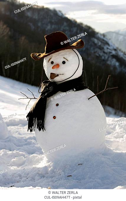 Snowman on mountainside wearing hat and scarf