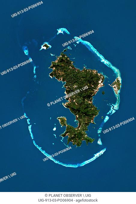 Satellite view of Mayotte. This image was compiled from data acquired by Landsat satellites