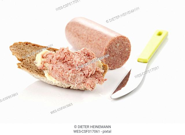 Onion sausage on farmhouse bread, close up
