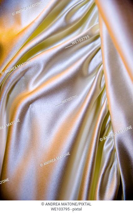 Satin wedding dress close-up