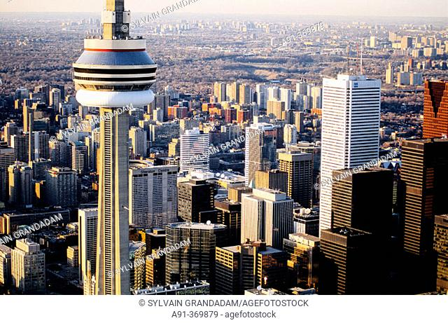 Aerial photography from an helicopter. City of Toronto and CN Tower. Ontario. Canada