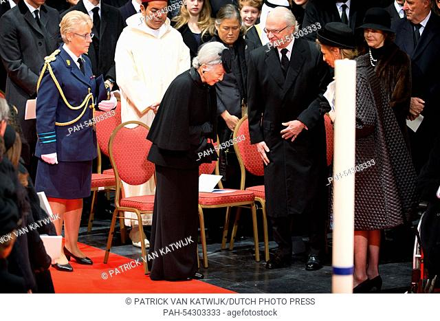 King Carl Gustaf of Sweden and Empress Michiko of Japan (both C) attend the funeral of Belgian Queen Fabiola at the Cathedral of St. Michael and St