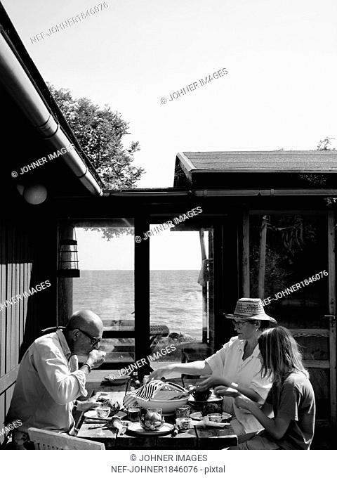 Family having meal outdoor