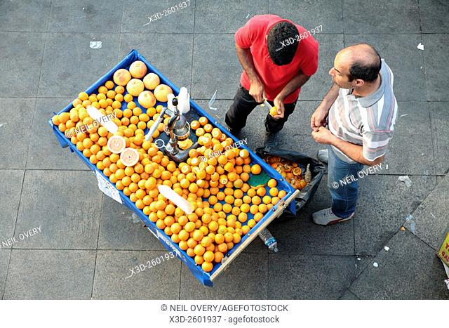 Fresh orange juice for sale on the Street, Istanbul, Turkey