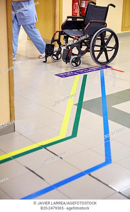 Wheelchair, Emergency area with guiding coloured lines to different departments, Triage, Emergency room, Hospital Donostia, San Sebastian, Gipuzkoa