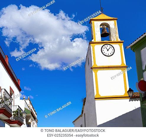 Real del Jara by Via de la Plata way Clock tower in Spain at Andalusia