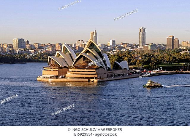 Sydney Opera House seen from the Harbour Bridge, Sydney, Australia