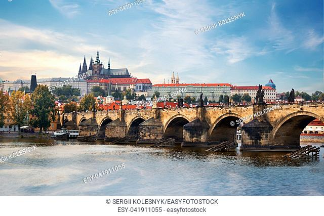 Ancient St Vitus cathedral and Charles bridge in Prague