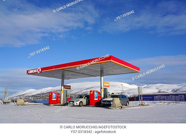 Gas station at Tromsø airport, Tromsø, Troms County, Norway, Europe