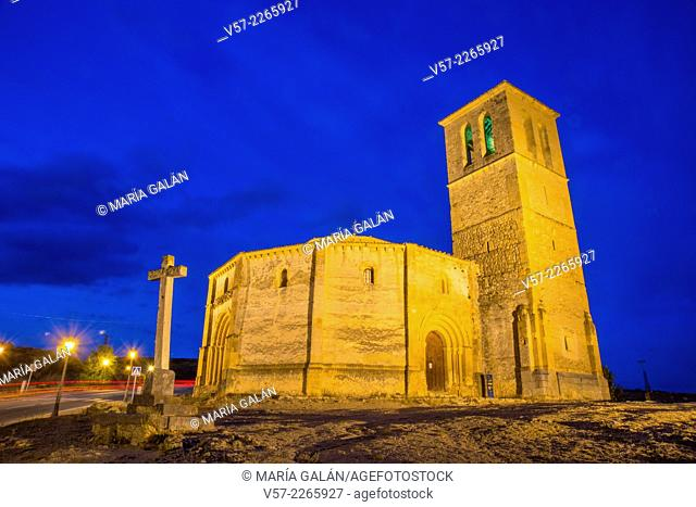 La Vera Cruz church, night view. Segovia, Castilla Leon, Spain