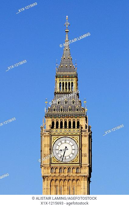 Big Ben, Clock Tower of The Palace of Westminster, London, England, UK