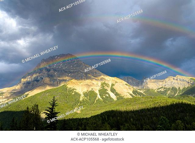 Rainbow over Mount Stephen, Field, Yoho National Park, British Columbia, Canada