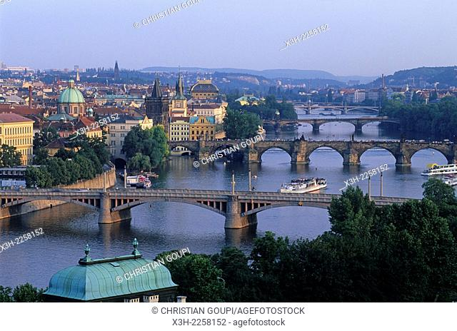 bridges on the Vltava river, Prague, Czech Republic, Europe