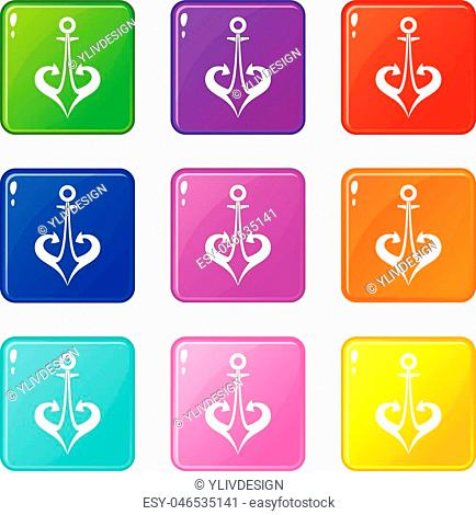 Anchor icons of 9 color set isolated vector illustration