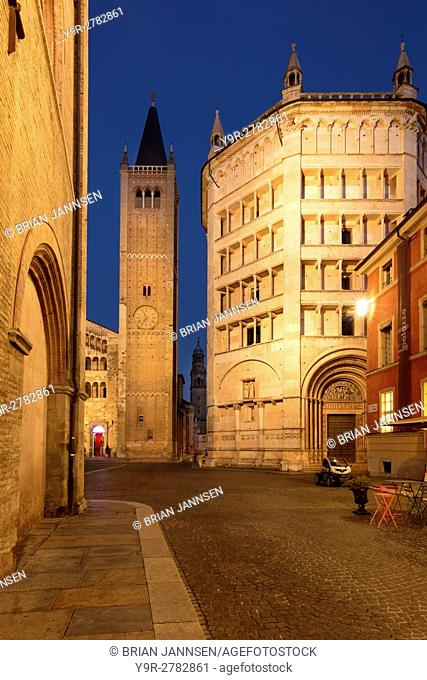 Twilight over the Duomo and Baptistery, Parma, Emilia-Romagna, Italy