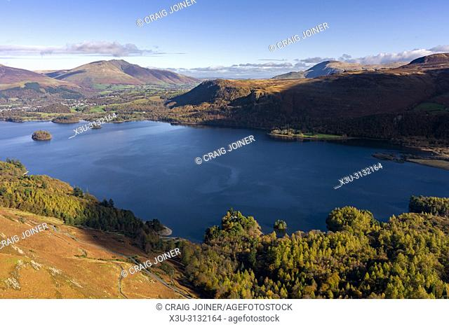 View over Manesty Park and Derwent Water from Maiden Moor in the Lake District National Park, Cumbria, England