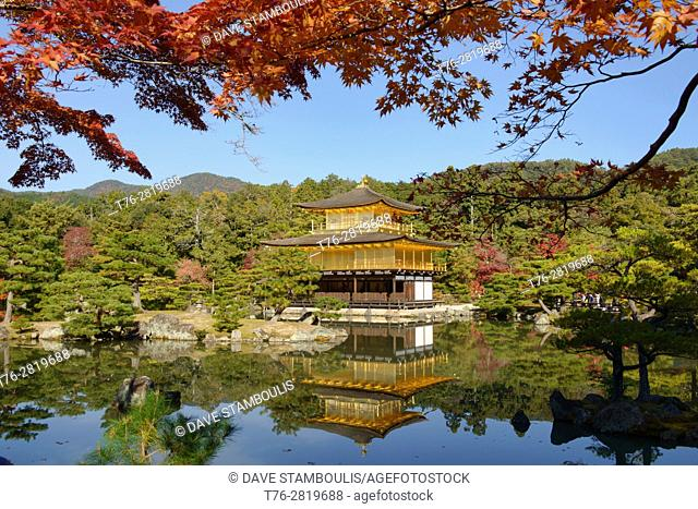 Autumn reflection at Kinkaku-ji Temple (Golden Pavilion), Kyoto, Japan