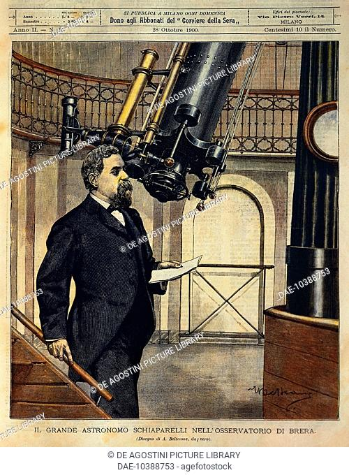 The astronomer Schiaparelli (1835-1910) in the Brera observatory, illustration by Achille Beltrame (1871-1945), from La Domenica del Corriere, October 28, 1900