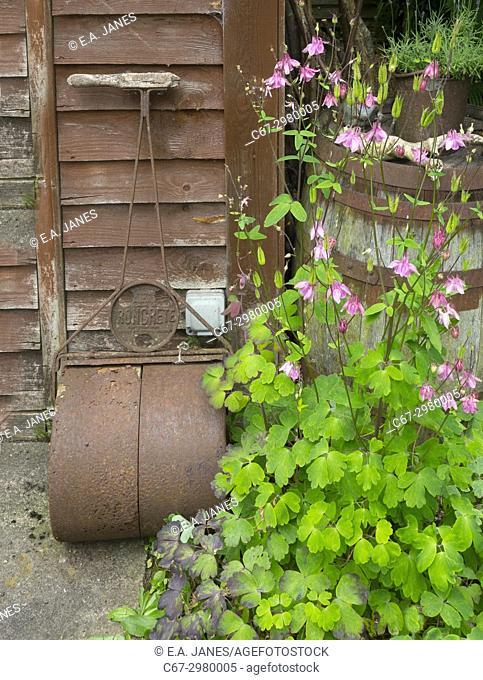 Old redundant garden roller resting against wooden shed