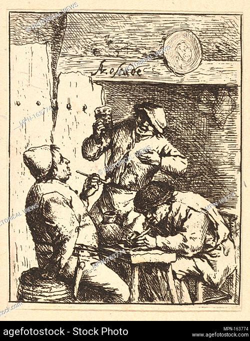 Singer Standing Between Two Smokers. Artist: Adriaen van Ostade (Dutch, Haarlem 1610-1685 Haarlem); Date: 1610-85; Medium: Etching; Dimensions: sheet: 3 1/8 x 2...