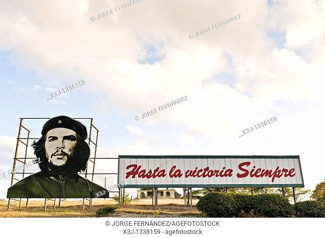 Che propaganda bill on a road near Las Tunas  Las Tunas, Cuba, Caribbean