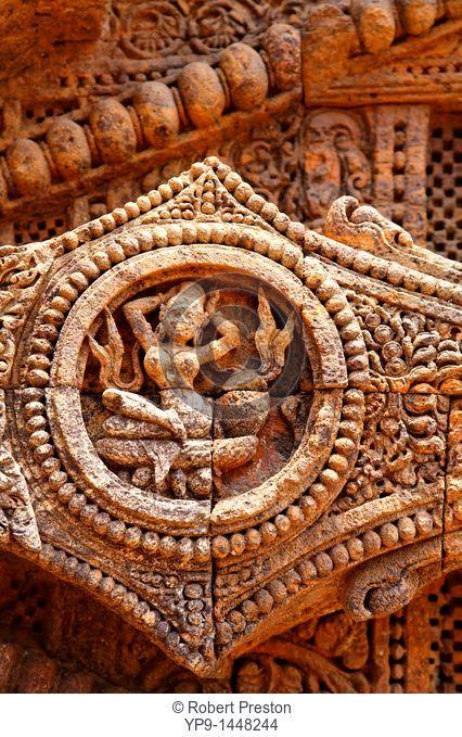 India - Orissa - Konark - sculptural detail at the Sun Temple
