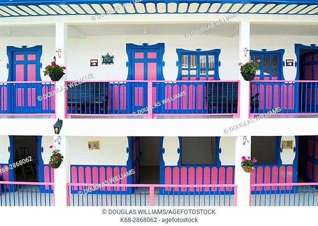 hotel, colourful, doors, balconies, windows, architecture, building