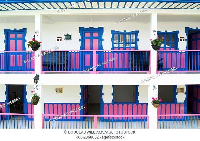 hotel, colourful, doors, balconies, windows, architecture, building